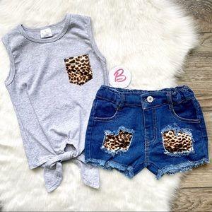 Girl Boutique Cheetah Denim Outfit Set